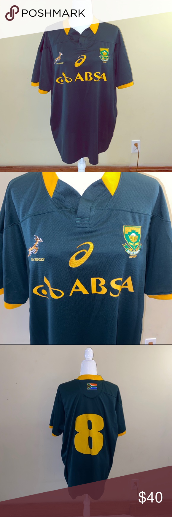 Asics South African Rugby Jersey Sz Xl Vintage South African Rugby Jersey Size Xl Asics Other Rugby Jersey South African Rugby Clothes Design