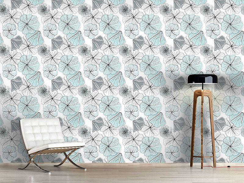 Design Tapete Hibiskusbluten Aqua Design Tapeten Design Tapeten