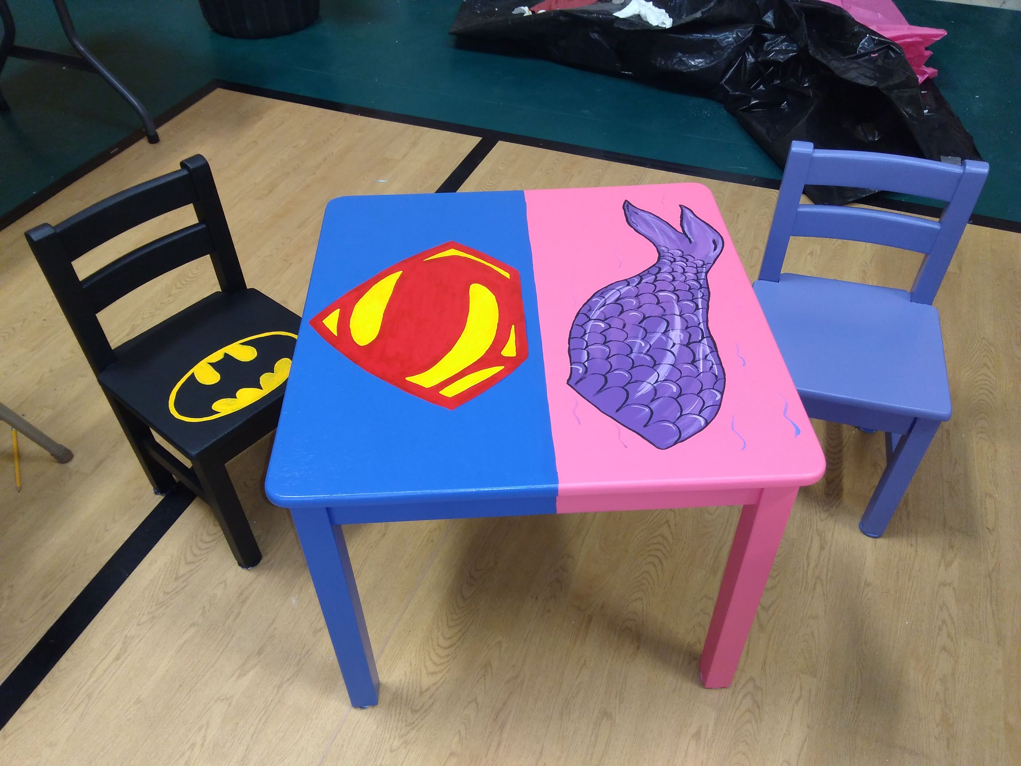 Batman Childrens Table And Chairs Evenflo Compact High Chair Superman Mermaids Kids Toys