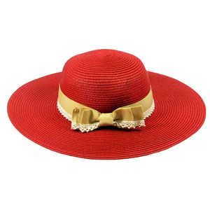 Red Straw Hat with Tan Lace Band,http://www.merx2go.com/shopexd.asp?id=6537