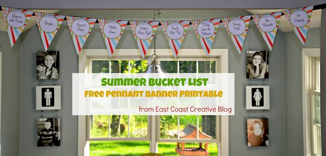 Free Printable Summer Bucket List Pennant Banner from East Coast