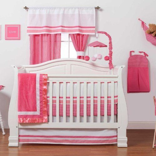 Amazon.com: Simplicity Hot Pink 4 Piece Baby Crib Bedding Set with Bumper by One Grace Place: Baby