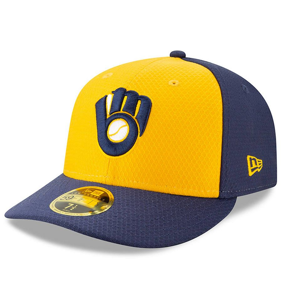 new concept 2e249 4d6c9 Men s Milwaukee Brewers New Era Yellow Blue 2019 Batting Practice Alternate  Low Profile 59FIFTY Fitted Hat, Your Price   37.99