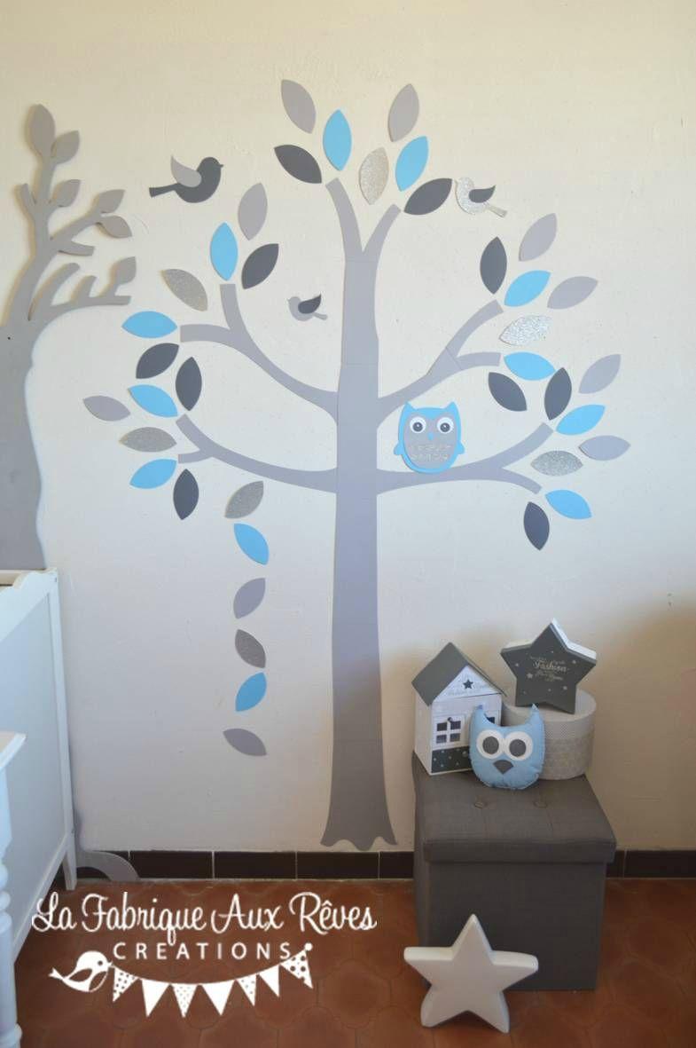 stickers arbre gris bleu ciel chaud argent hibou chouette oiseaux ...