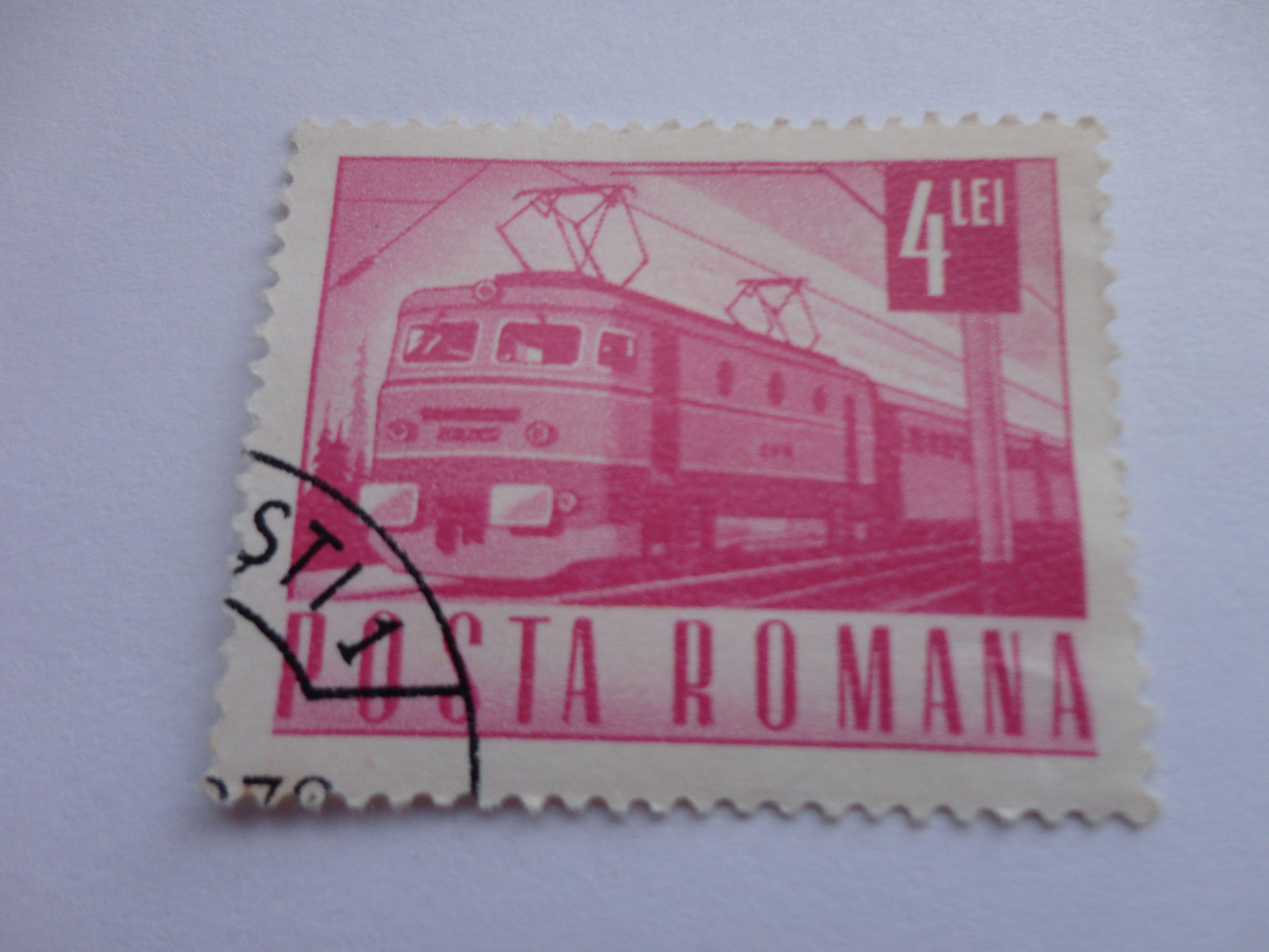4 lei posta romana postal stamp
