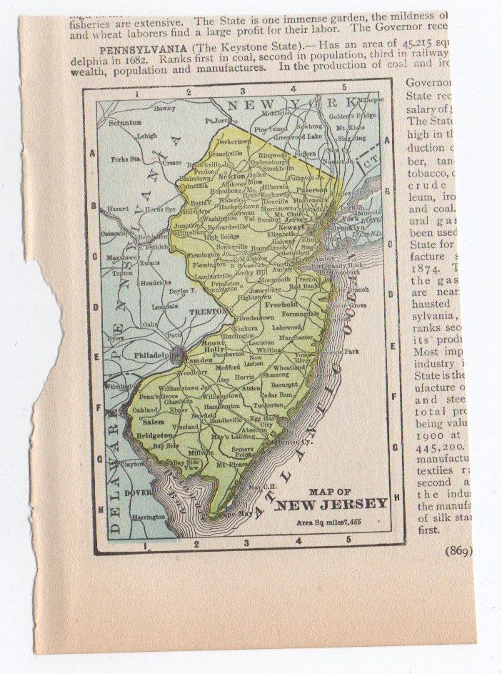 1910 Antique Map New Jersey Miniature Original Lithograph Print