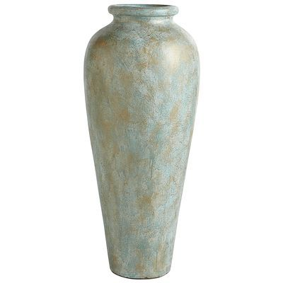 Blue Green Patina Urn Floor Vase
