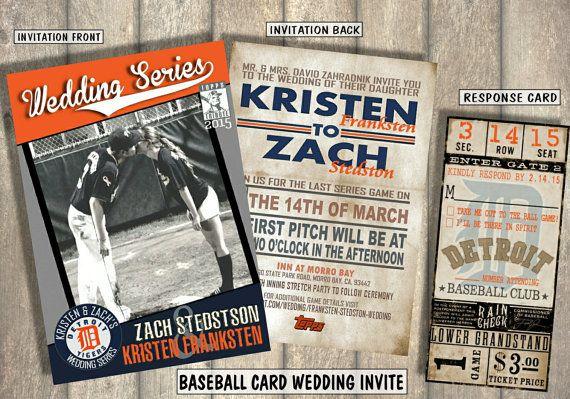 baseball card wedding invitation and response card by bowersink - Baseball Wedding Invitations