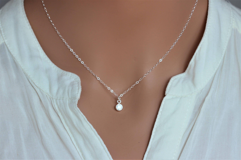 Tiny CA dot dangle Silver Cz necklace Round solitaire CZ bezel charm Sparkling CZ diamond-April Birthstone Cubic zirconia necklace