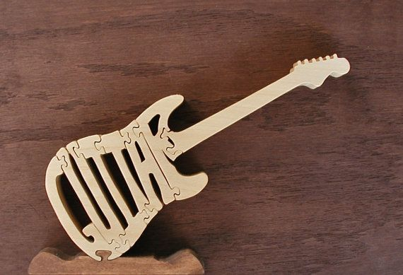 Guitar Puzzle Hand Made On Scroll Saw by DukesScrollSaw on Etsy