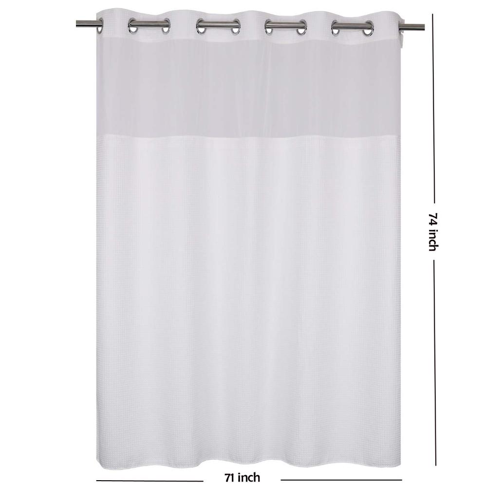 Amazon Com Waffle Weave Fabric Shower Curtain No Hooks Needed