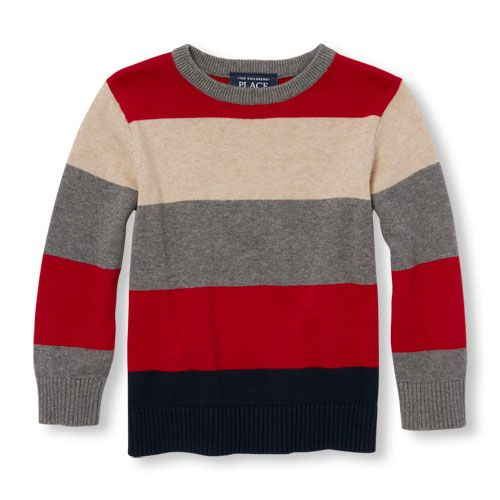 Baby Boys Toddler Boys Long Sleeve Striped Sweater - Red - The ...
