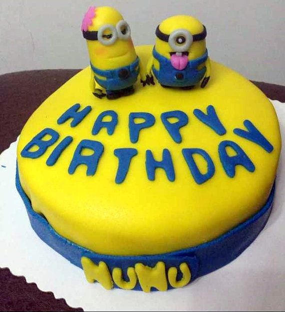 Fondant Minion Birthday Cake Despicable Me By Latelierdeo On Etsy