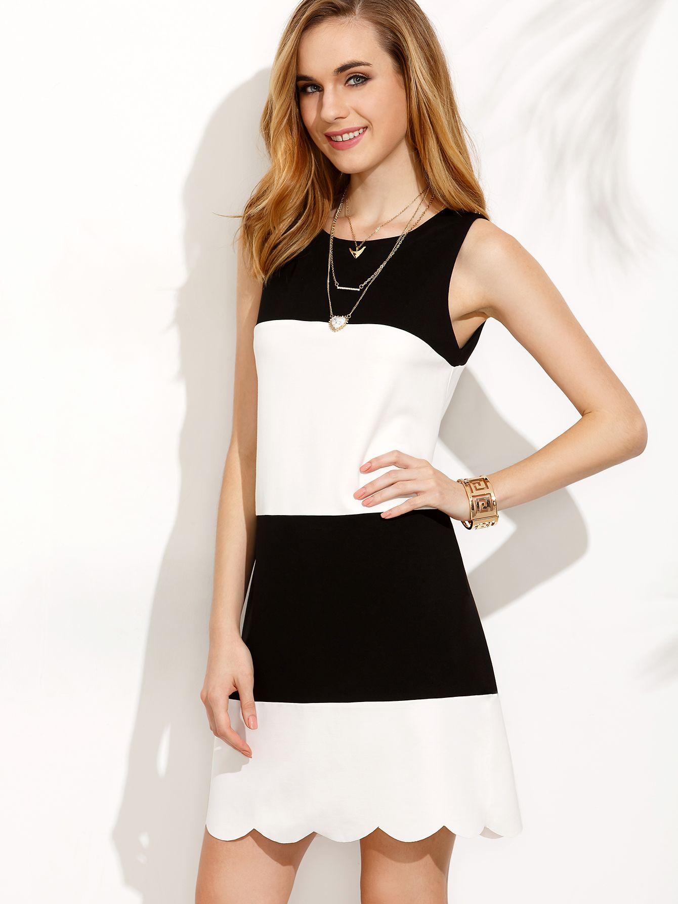 f50a4d9e6e0b47 Robe bicolore sans manche - noir blanc -French SheIn(Sheinside) Scalloped  Hem