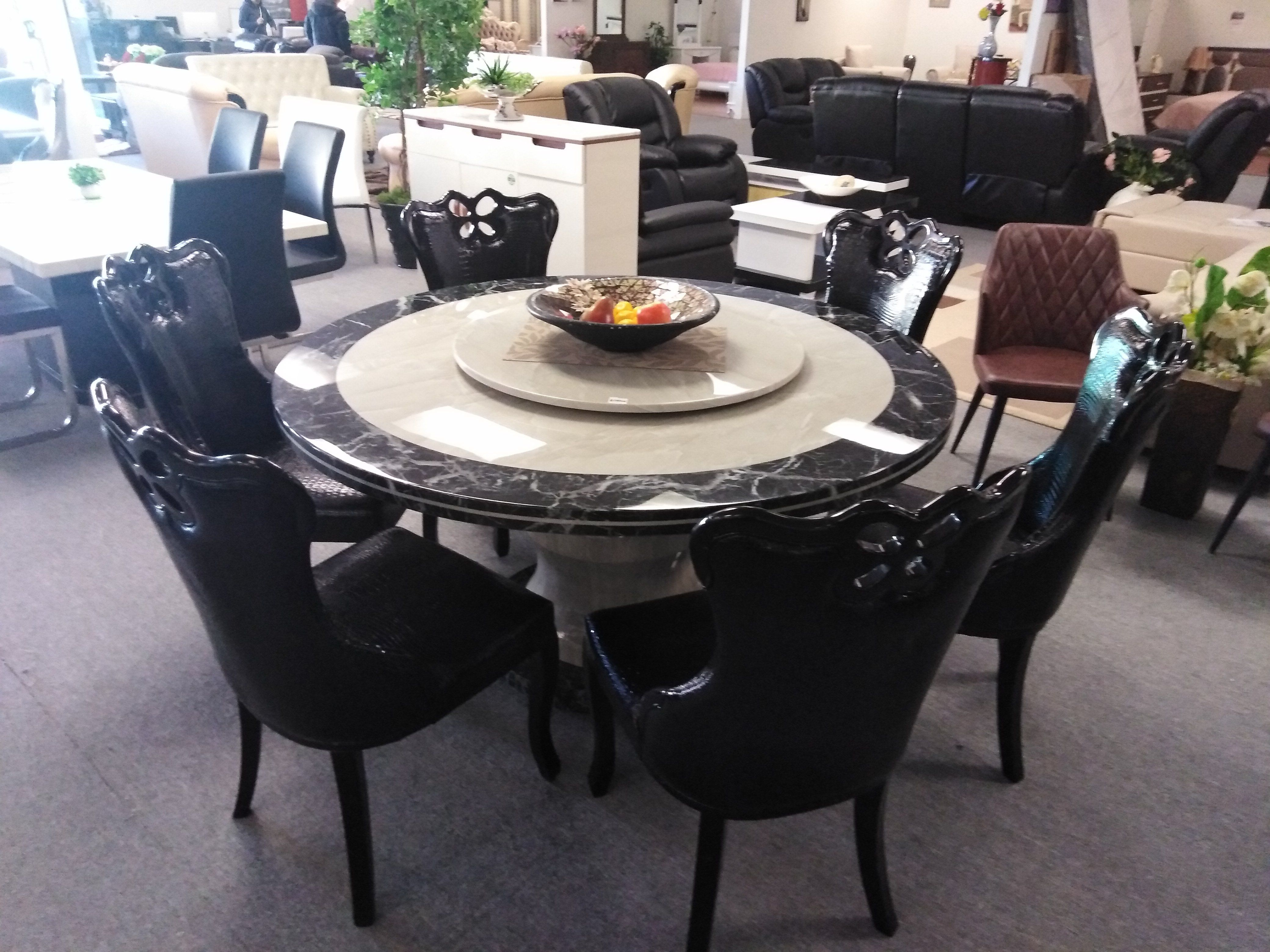 Magnificent 1 5M Marble Stone Dining Round Table With 6 Designed Chairs Andrewgaddart Wooden Chair Designs For Living Room Andrewgaddartcom