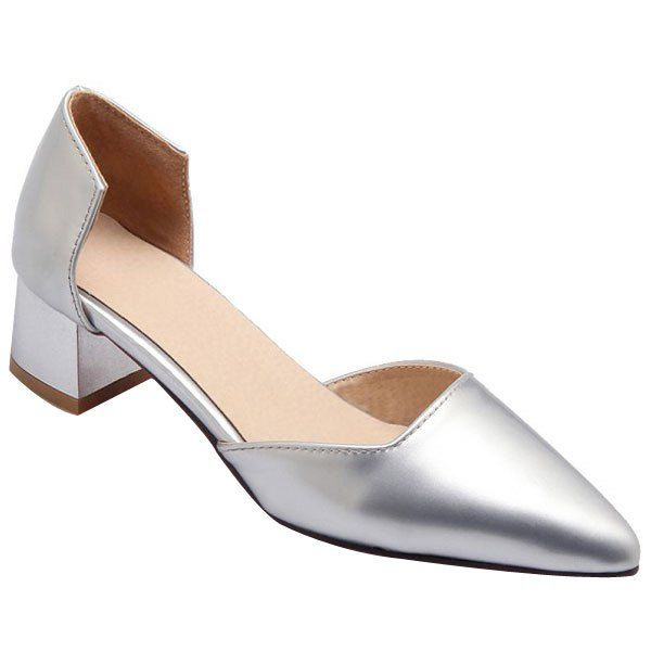 Stylish Chunky Heel and Patent Leather Design Women's Pumps #women, #men, #hats, #watches, #belts