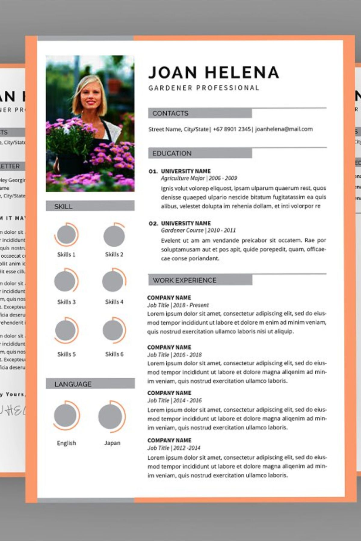 Joan gardener resume designer this layout is suitable for