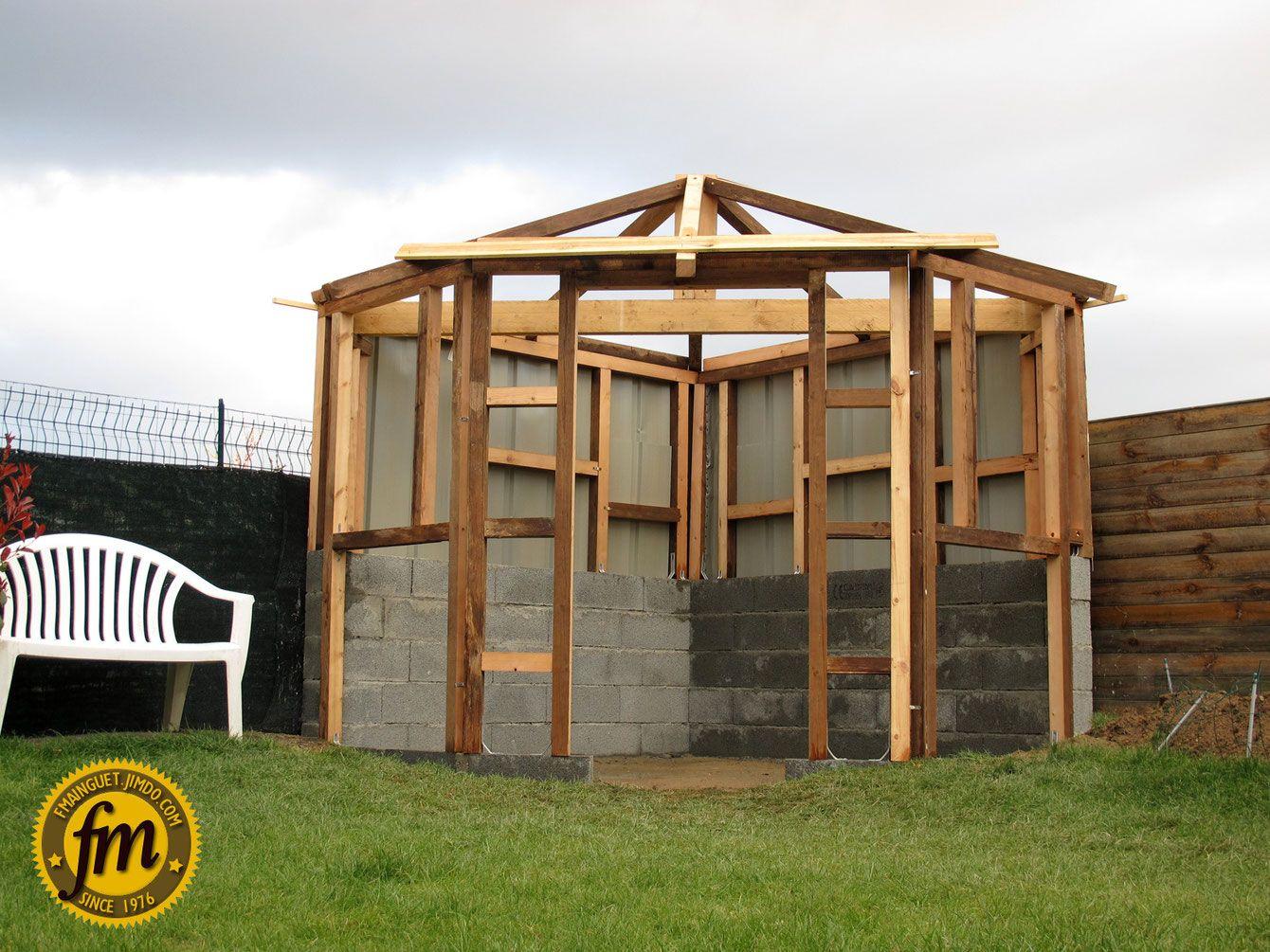 Charpente cabane de jardin d\'angle | jardin | Construction