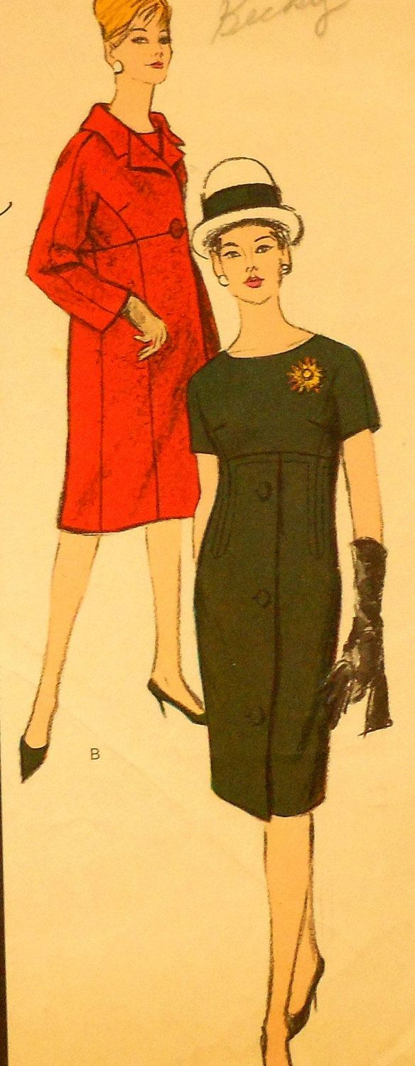 Vintage 60s Vogue Couturier Design Coat and Dress Sewing Pattern ...