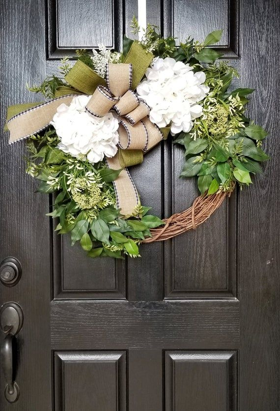 Photo of Wreaths for Front Door, Spring Wreath, Front Door Wreath, Everyday Wreath, Rustic Wreath, Hydrangea