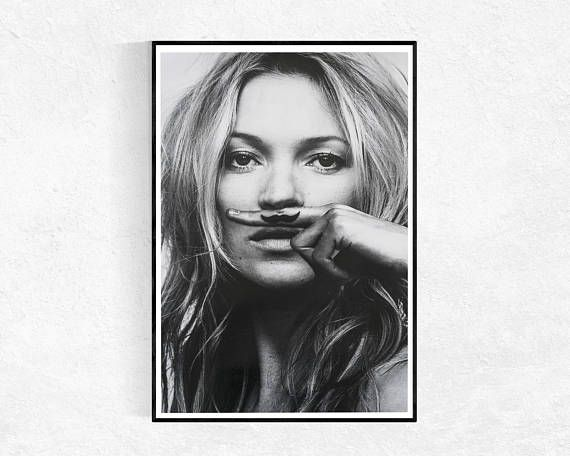 Kate moss moustache print fashion poster portrait poster