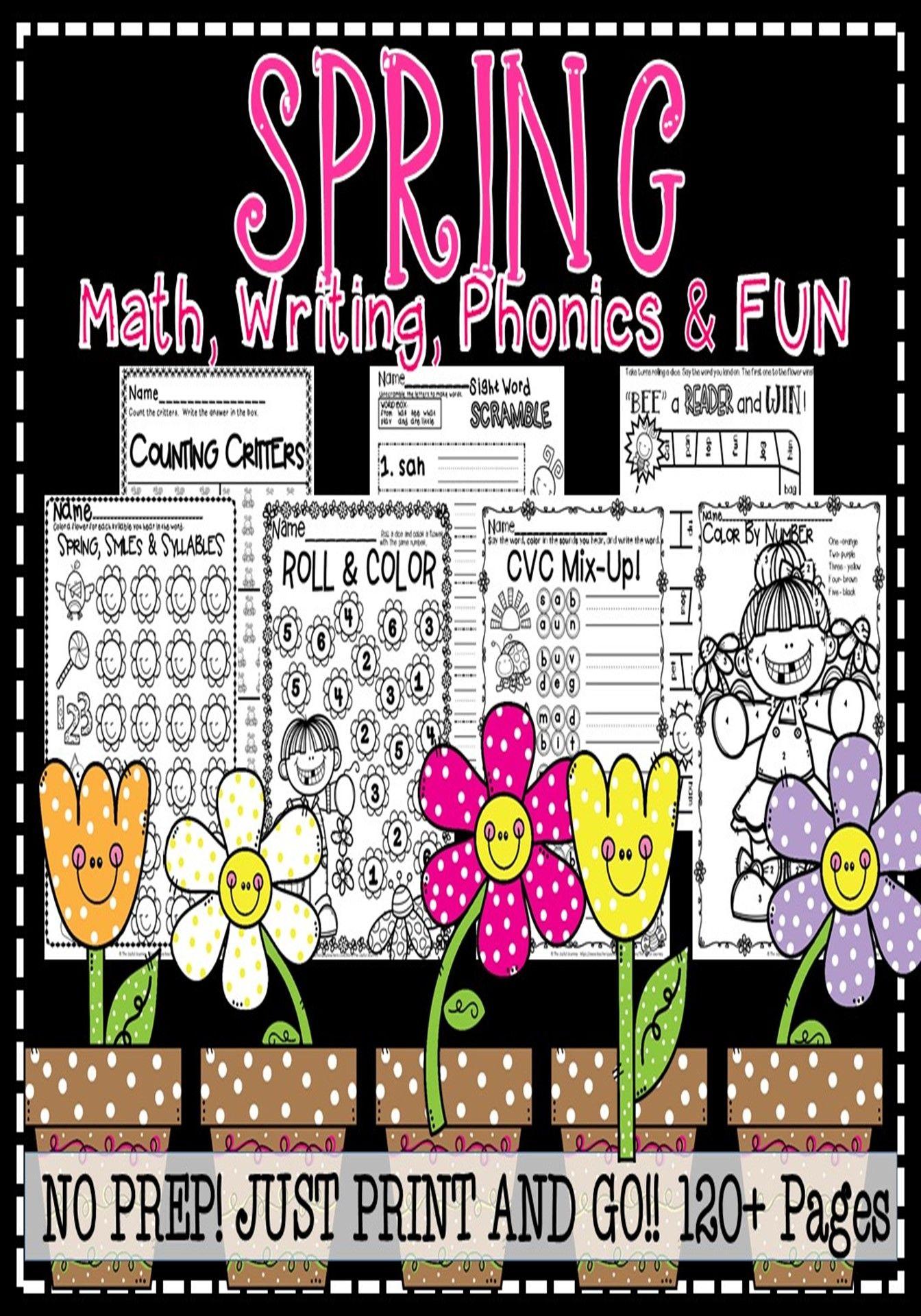 Kindergarten Spring Math Writing Phonics Literacy And