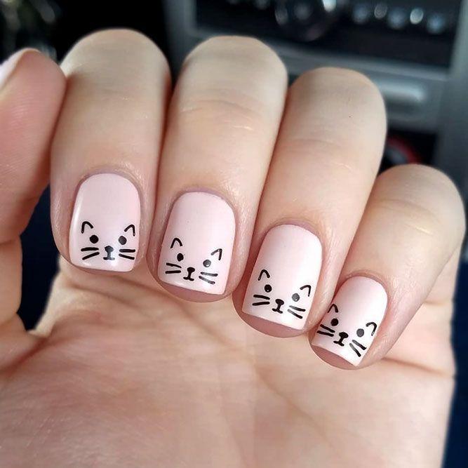 Unique Cat Nails Designs For You Cat Designs Nails Unique In 2020 Cat Nail Designs Nail Art For Kids Nails For Kids