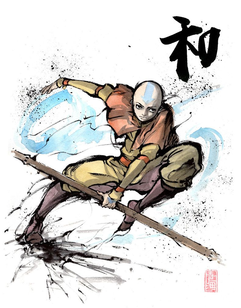 Aang from Avatar with calligraphy by MyCKs on DeviantArt