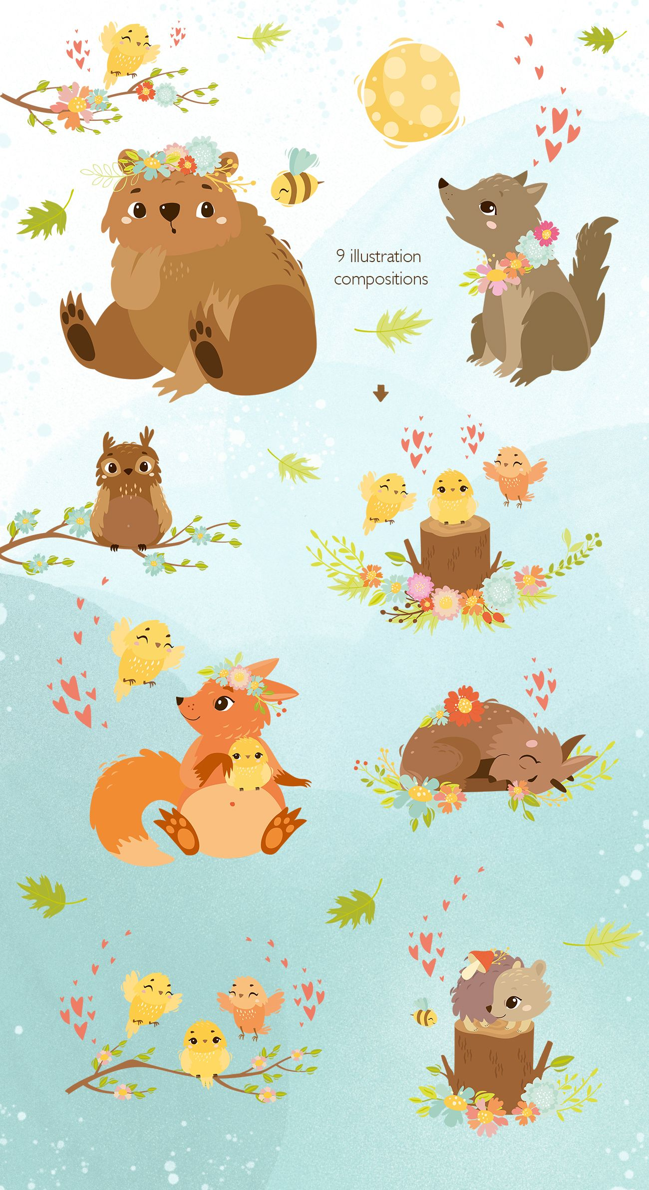 Spring Forest Forest Animals Vector Clip Art Cute Animal Characters