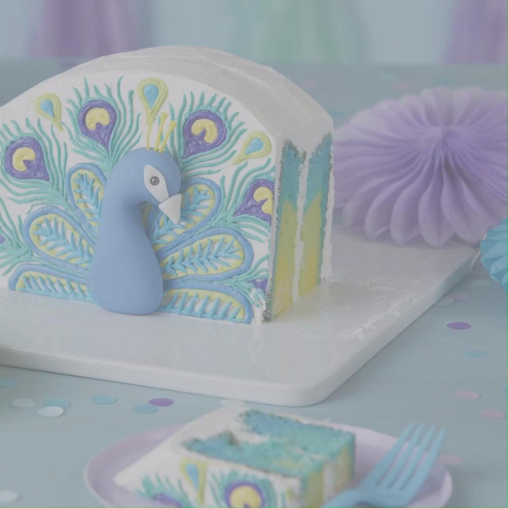 How to Make a Buttercream Peacock Birthday Cake #buttercream