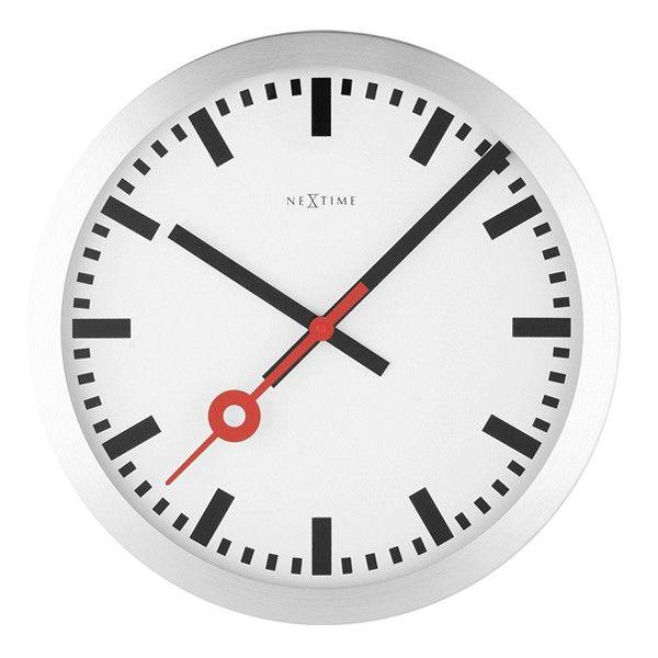 Nextime Station Clock Stripe Designer 35cm Wall Red Design