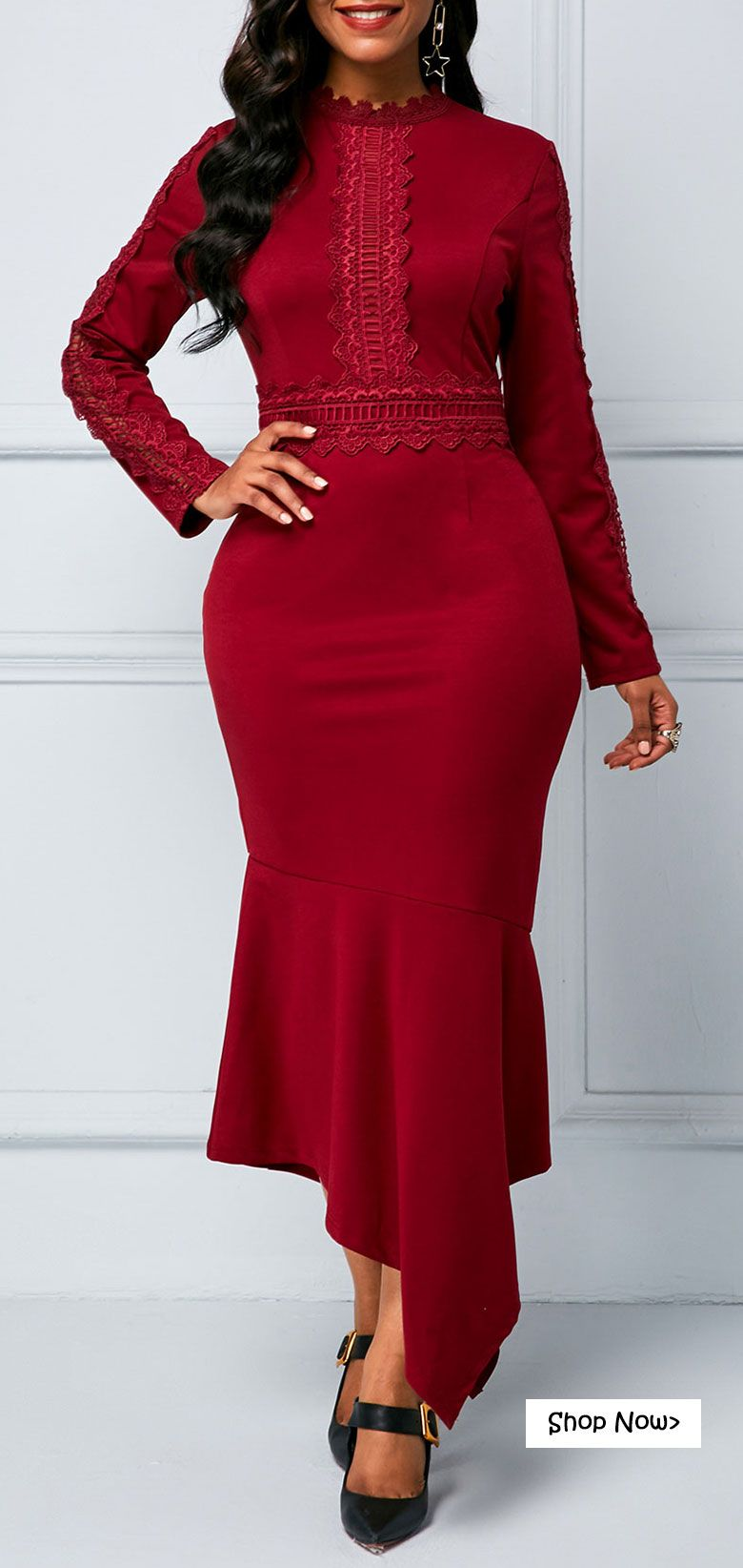 Long sleeve zipper back sheath dress in christmas outfits