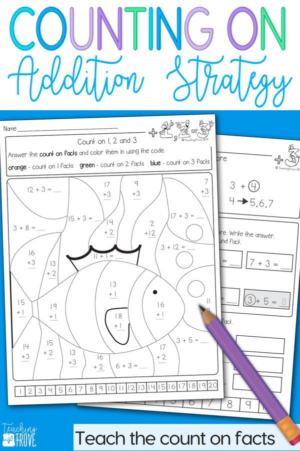 Counting On Addition Strategy Worksheets First Grade Pinterest