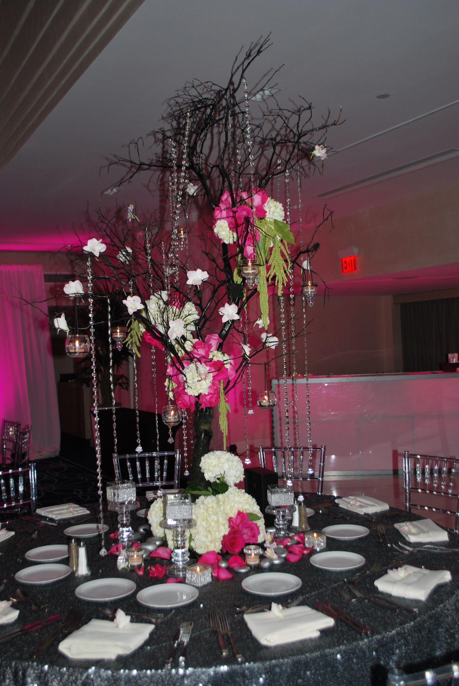Bat Mitzvah Event Decor Hot Pink Black Silver Color Scheme Manzanita Tree Centerpieces With Flowers Crystals Party Perfect Boca Raton Fl 1 561 994