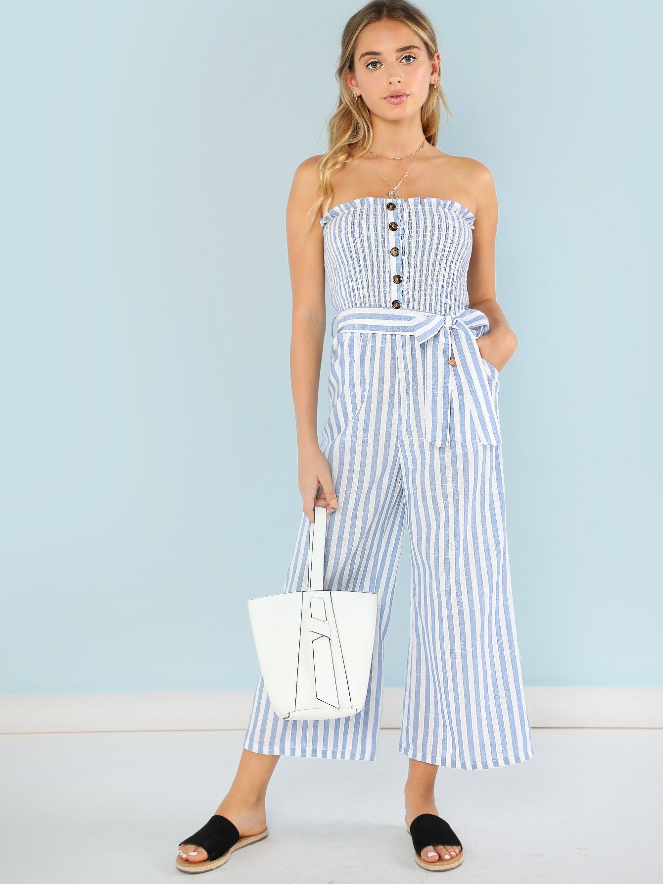 0d1cd003c076 Button Accent Shirred Panel Striped Strapless Jumpsuit -SheIn(Sheinside)