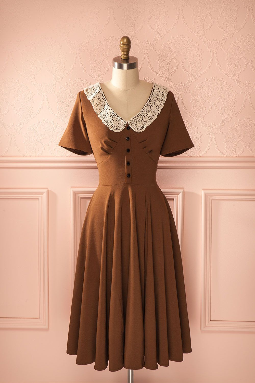 Élie café brown beige midi dresses and beige