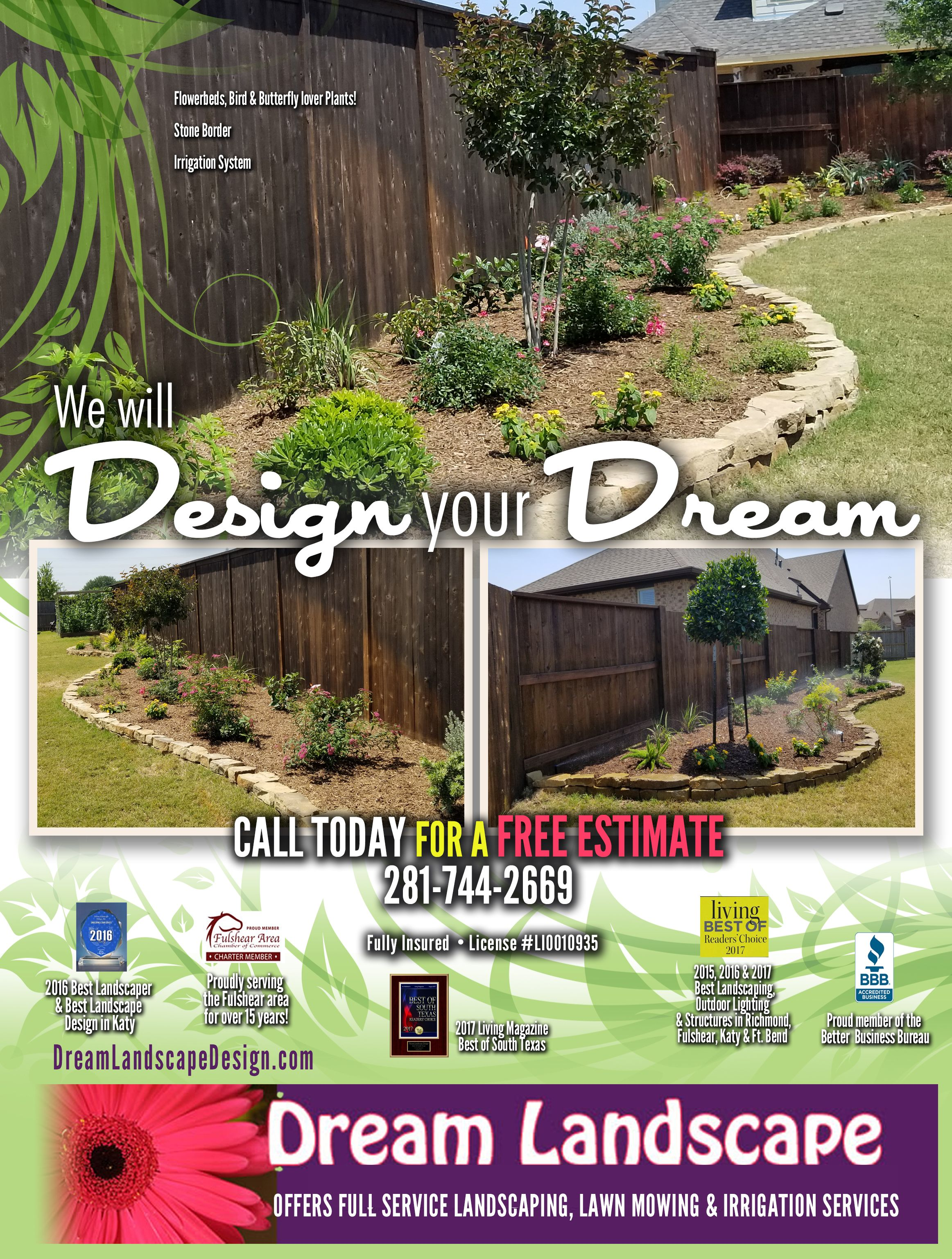 Call Us Today For A Free Estimate On Your Dream Landscape Design