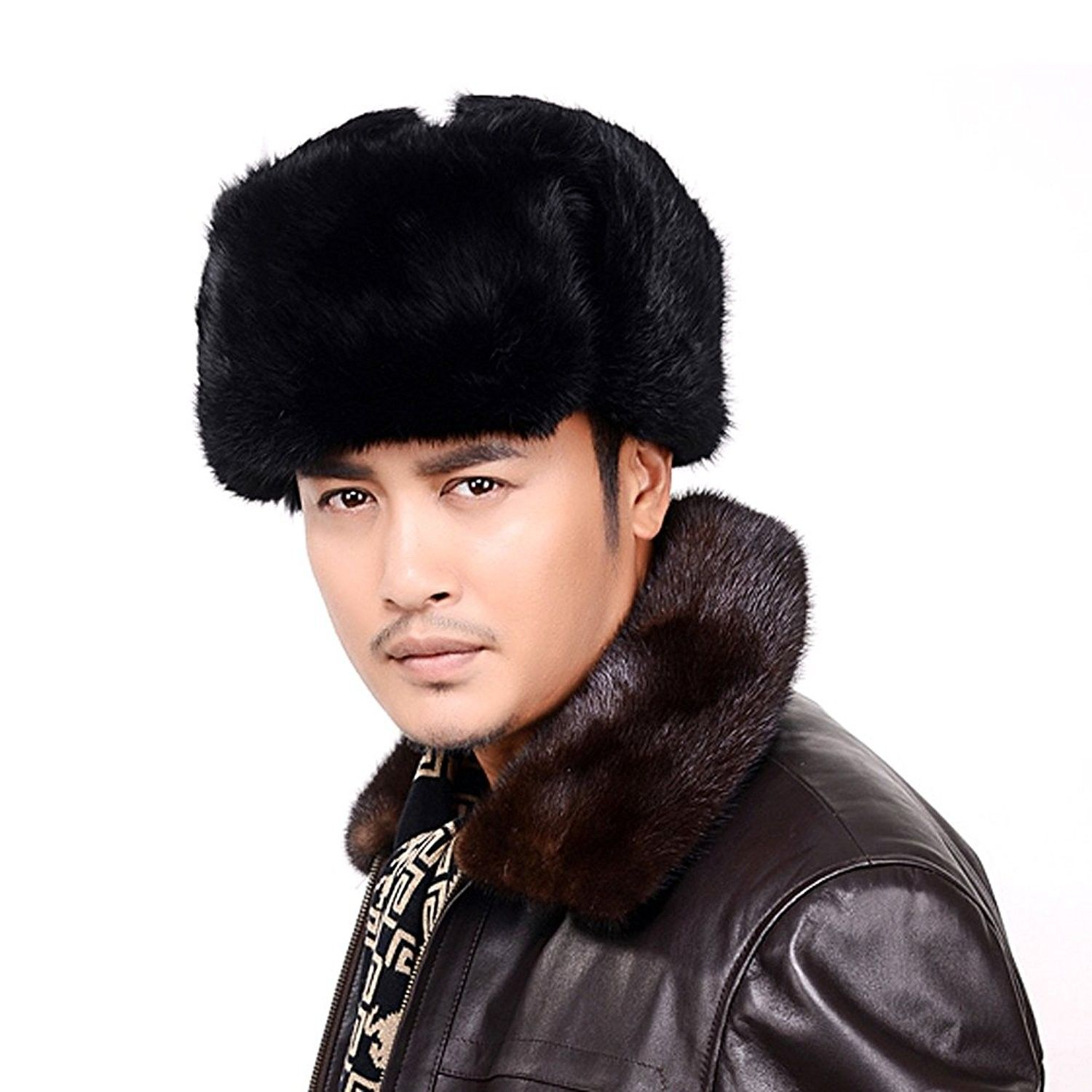 c58b40065f5 Men s Women s Natural Rabbit Full Fur Russian Soviet Ushanka Winter Trooper  Hat - Black - CS1857I7OYK - Hats   Caps