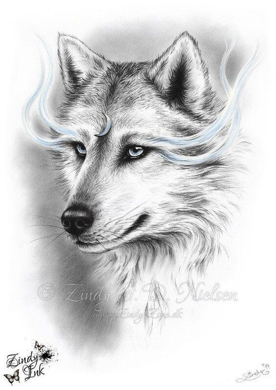 Fantasy Animals Meet Realistic Ones White Wolf Tattoo Horse Canvas Painting Realistic Animal Drawings