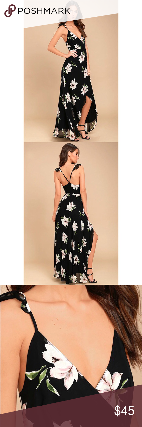 b3abd017d7 Lulu s All Mine Black Floral Print Wrap Dress Lulus Exclusive! You ll find  everything