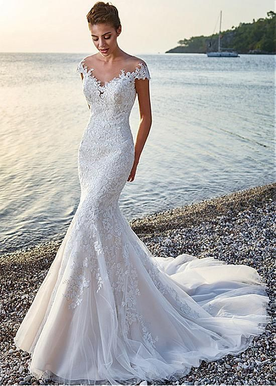 d77268764 Buy discount Glamorous Tulle & Satin Bateau Neckline Mermaid Wedding Dresses  With Lace Appliques at Dressilyme.com