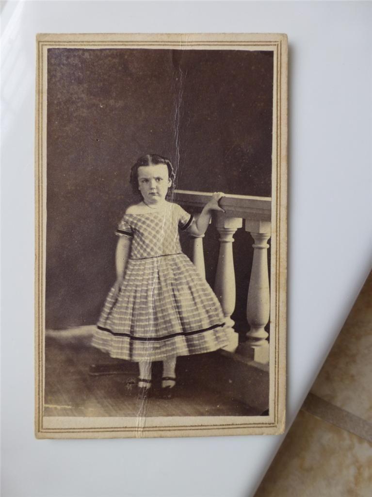 Adorable Little Girl Crinoline Civil War Era Dress Old CDV Photo C1860s | eBay