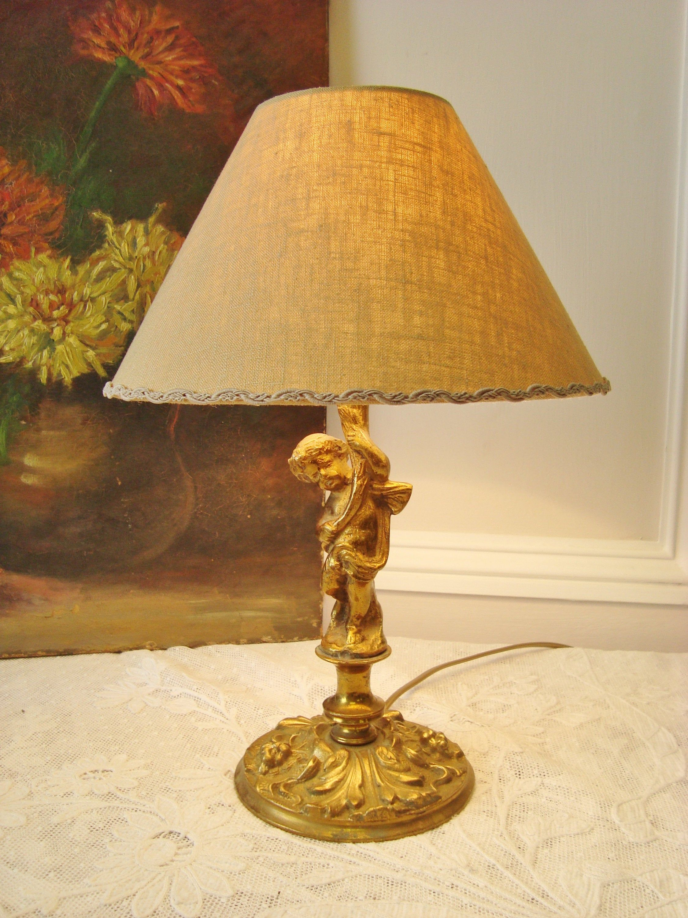 Antique French Cherub Table Lamp In Bronze With A Handmade Etsy French Antiques Bronze Lamp Base Antiques