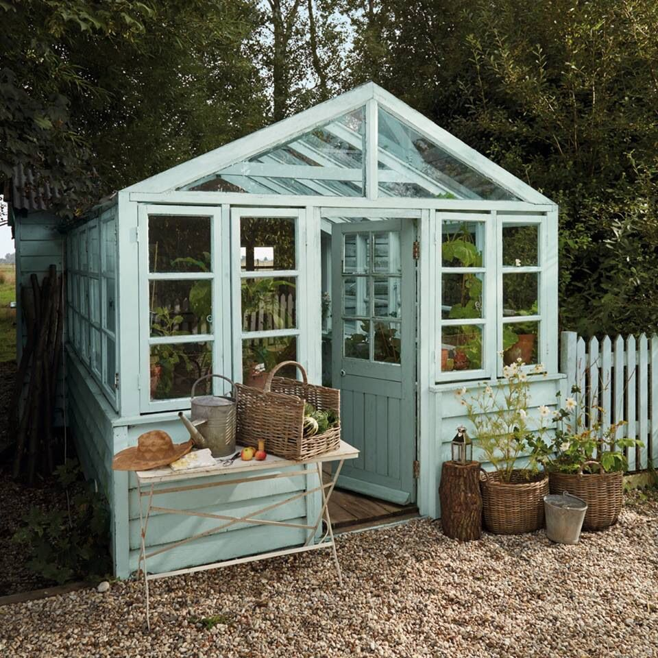 Veggie patch shed greenhouse in the garden pinterest for Tiny house with greenhouse