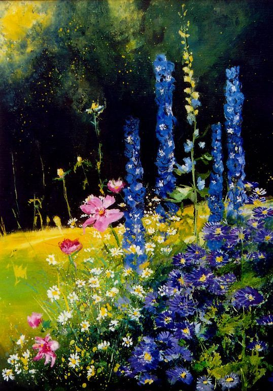 """""""Cosmos and delphinium"""" by Pol Ledent; Oil, Painting."""