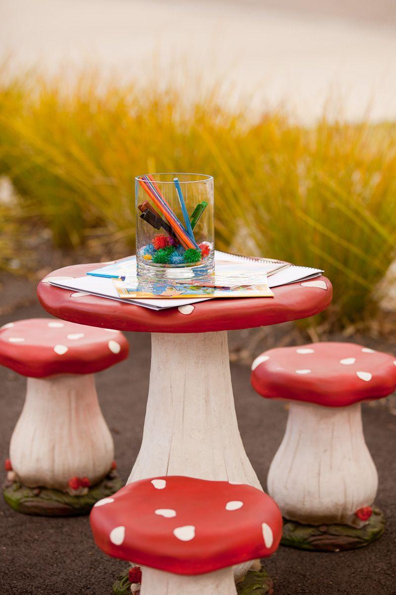 Red White Mushroom Kids Table Stools Wonderland Party Theme