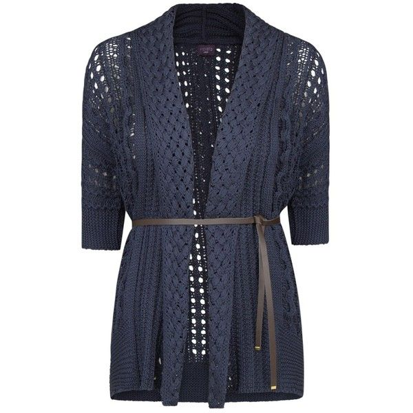 Violeta by Mango Belted Cardigan, Navy (€31) ❤ liked on Polyvore ...