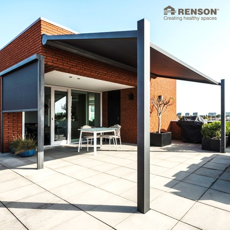 With A Renson Lapure On Your Roof Terrace You Can Enjoy Your Marvellous City View All Day Long Www Renson Outdoor Com Lapure Terracecover Patiocover Ter