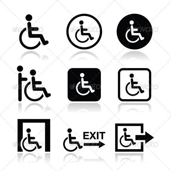 Handicap Icons Icon Icon Set Vector Human Icon