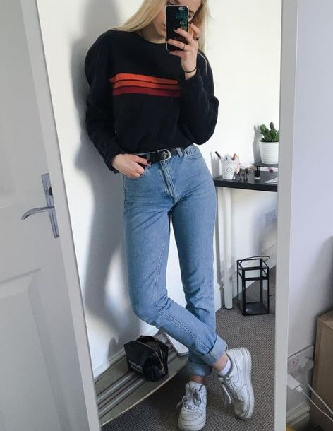 sweater door grunge 90s style 90s grunge nike nike air force 1 jeans belt clothes plants shoes #90sgrunge